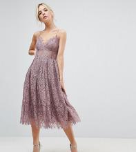 ASOS | Кружевное платье миди для выпускного ASOS PETITE - Фиолетовый | Clouty