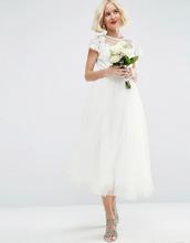 ASOS | Платье для выпускного миди с сеточкой и кружевом ASOS BRIDAL - Белый | Clouty