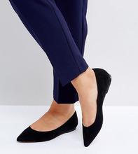 ASOS | Балетки для широкой стопы с острым носком ASOS LATCH - Черный | Clouty