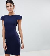 Vesper | Платье-футляр с фигурными рукавами Vesper - Темно-синий | Clouty