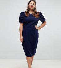 ASOS | Платье-футляр миди ASOS DESIGN Curve - Темно-синий | Clouty