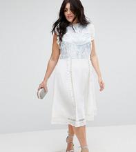 ASOS | Платье без рукавов с вышивкой ASOS CURVE PREMIUM - Кремовый | Clouty