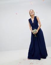 ASOS | Платье макси с кружевной вставкой ASOS WEDDING - Темно-синий | Clouty