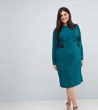 ASOS | Платье миди с эластичным поясом ASOS CURVE - Зеленый | Clouty