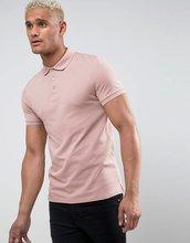 ASOS   Розовая облегающая футболка-поло из пике ASOS - Розовый   Clouty