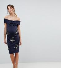 ASOS | Платье с открытыми плечами и декоративной отделкой ASOS MATERNITY | Clouty