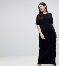 ASOS | Платье макси с бахромой ASOS CURVE - Черный | Clouty