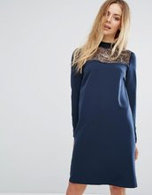 Vila | Платье с кружевной отделкой Vila - Темно-синий | Clouty