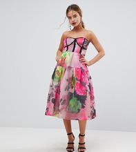 ASOS | Сетчатое платье-бандо миди для выпускного с цветочным принтом ASOS PET | Clouty