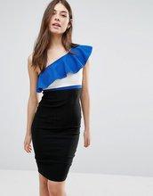 Vesper | Платье-футляр на одно плечо с контрастной оборкой Vesper - Синий | Clouty