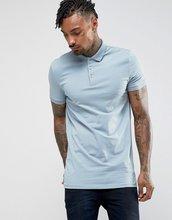 ASOS   Трикотажная длинная облегающая футболка-поло ASOS - Синий   Clouty