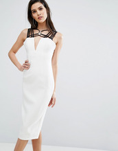8th Sign | Платье миди с контрастной отделкой на вороте The 8th Sign - Белый | Clouty