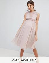 ASOS | Сетчатое платье миди с кружевной отделкой ASOS Maternity - Розовый | Clouty