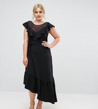 Club L | Асимметричное платье с оборками Club L Plus Senortia - Черный | Clouty