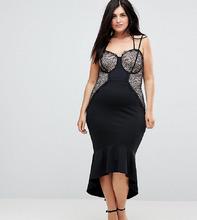 ASOS | Облегающее платье с кружевом и оборкой по краю ASOS CURVE - Черный | Clouty