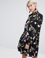 Vila | Свободное платье с высоким воротом и цветочным принтом Vila - Мульти | Clouty