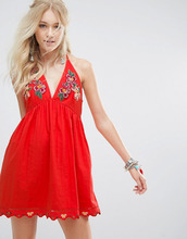 Free People | Платье мини Free People Love and Flowers - Красный | Clouty