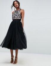 ASOS   Платье миди из тюля с декоративной отделкой ASOS - Черный   Clouty