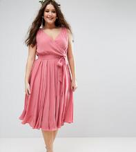 ASOS | Платье миди с бантом ASOS CURVE WEDDING - Розовый | Clouty