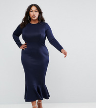 Club L | Облегающее платье миди с длинными рукавами и оборкой Club L Plus | Clouty