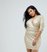 Club L | Декорированное пайетками платье с запахом и рукавами 3/4 Club L Plus | Clouty