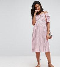 ASOS | Платье в полоску с открытыми плечами ASOS Maternity PETITE - Красный | Clouty