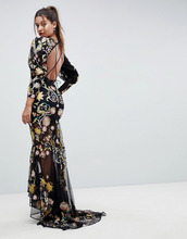 ASOS | Платье макси с открытой спиной и вышивкой ASOS EDITION - Мульти | Clouty
