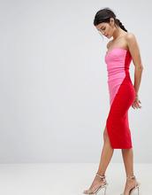 Vesper | Платье-футляр с лифом-бандо и контрастной юбкой с запахом Vesper | Clouty