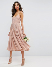 ASOS | Декорированное платье миди на бретельках ASOS WEDDING - Бежевый | Clouty