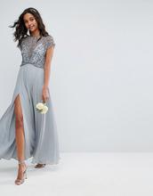 ASOS | Платье макси с отделкой бусинами на лифе ASOS WEDDING - Серый | Clouty