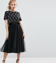 ASOS | Платье миди для выпускного с декорированным кроп-топом и юбкой из тюля | Clouty
