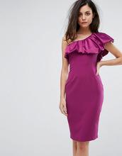 Vesper | Платье-футляр с атласной оборкой на одно плечо Vesper - Красный | Clouty