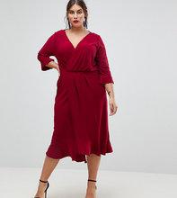 ASOS | Платье миди с запахом и оборками ASOS CURVE - Красный | Clouty