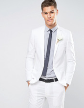 ASOS | Белый пиджак скинни из эластичного хлопка ASOS - Белый | Clouty