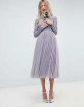 ASOS | Платье миди с вышивкой ASOS WEDDING - Синий | Clouty