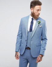 ASOS | Синий фактурный пиджак скинни ASOS Wedding - Синий | Clouty