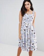 Vesper | Приталенное платье миди с цветочным принтом Vesper - Синий | Clouty