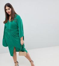 ASOS | Платье-кимоно миди с глубоким вырезом ASOS CURVE - Зеленый | Clouty