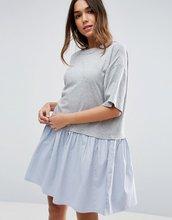 ASOS | Свободное платье-футболка с тканым присборенным подолом ASOS - Серый | Clouty