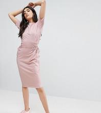 ASOS | Платье-футболка миди с отделкой в стиле корсета ASOS TALL - Розовый | Clouty