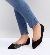 ASOS | Балетки с заостренным носком для широкой стопы ASOS VIXEN - Черный | Clouty