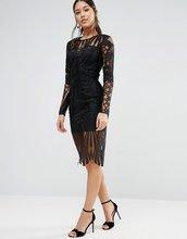 ASOS   Платье миди с длинными рукавами и кружевом ASOS - Черный   Clouty