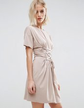 ASOS | Платье‑футболка с отделкой в стиле корсета ASOS - Коричневый | Clouty