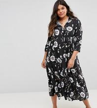 Club L | Платье-рубашка с ажурной вставкой Club L Plus - Мульти | Clouty