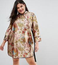 ASOS | Платье мини в китайском стиле с запахом и окантовкой ASOS CURVE | Clouty