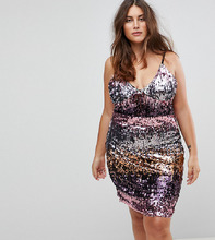 Club L | Платье на бретелях с пайетками Club L Plus - Розовый | Clouty