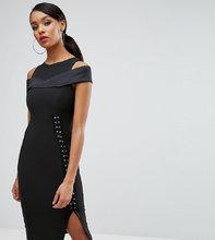 Vesper | Платье-футляр с вырезами на плечах и шнуровкой сбоку Vesper - Черный | Clouty