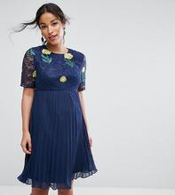 ASOS | Платье мини с вышивкой, плиссировкой и кружевом ASOS Maternity | Clouty