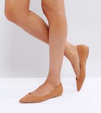 ASOS | Балетки для широкой стопы с острым носком ASOS LATCH - Бежевый | Clouty