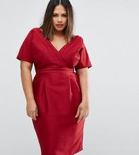 ASOS | Платье с запахом спереди ASOS CURVE - Красный | Clouty